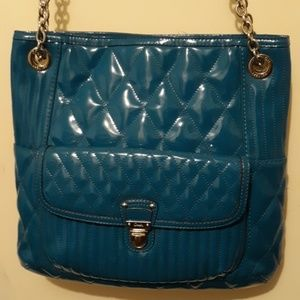 Coach Poppy RARE Teal Patent Leather Handbag